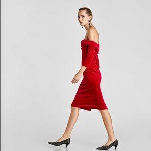 c67f4b3e Zara Dresses | Red Velvet Tube Dress | Poshmark